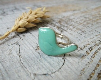 Mint Bird Ring, Birdie jewelry, Statement Adjustable ring, Cute earring