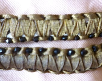 Antique gold metallic plaited braid trim facet bead embellishment textile projects one only 18 ins x 5/8 ins wide Edwardian