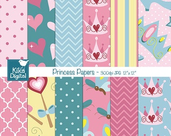 Princess Digital Papers - Scrapbooking, card design, invitations, stickers, background, paper crafts, web design - INSTANT DOWNLOAD