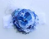 Baby Headband- Baby Girl Headband- Newborn Headband- Blue headband- infant Headband-Flower Girl headband