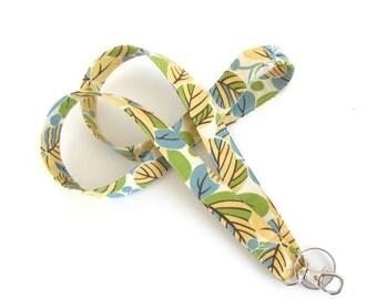 Id Badge Lanyard Fabric Lanyard Keys Holder, Key Lanyard, Key Ring Teacher Lanyard Leaves Yellow Blue, Ovation Studio