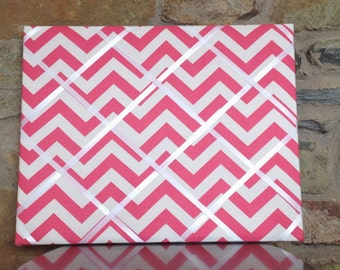 16x20 French Memo Board - Pink and White Chevron with White Ribbon - Unframed
