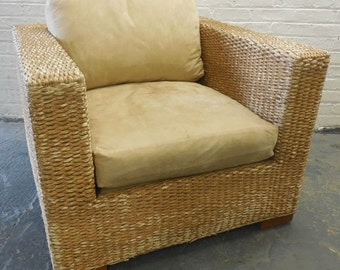 """Kreiss Collection - """"Malaysian"""" Woven Banana Leaf Wicker Lounge Chair and Ottoman"""