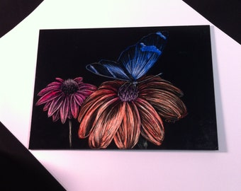 Gift Butterfly Pretty Flowers  scratch art with color