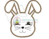 Fuzzy Bunny w/ Raggy Bow option Applique Machine Embroidery Design