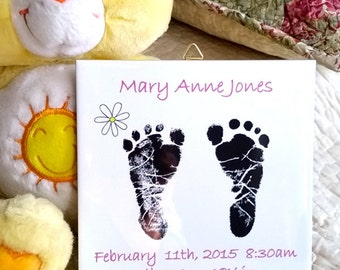 Keepsake Newborn Baby Footprints Ceramic Wall Plaque Custom Made to order with baby name, date and time, place of birth,  height and weight