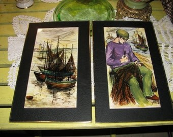 2 Belgium Nautical Tile Pictures Fishing Boats Fisherman Hand Painted Tiles FREE USA Shipping