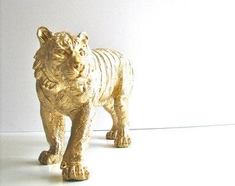 GOLD Tiger Standing Safari Animal Statue in gold:  kids room decor office decor safari animal decor elegant nursery decor