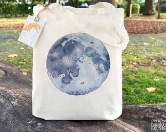 Moon Tote Bag, Ethically Produced Reusable Shopper Bag, Cotton Tote, Shopping Bag, Eco Tote Bag, Reusable Grocery Bag