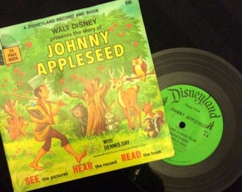 vintage Tunes ... Walt Disney JOHNNY APPLESEED Book and 45 RECORD  ...