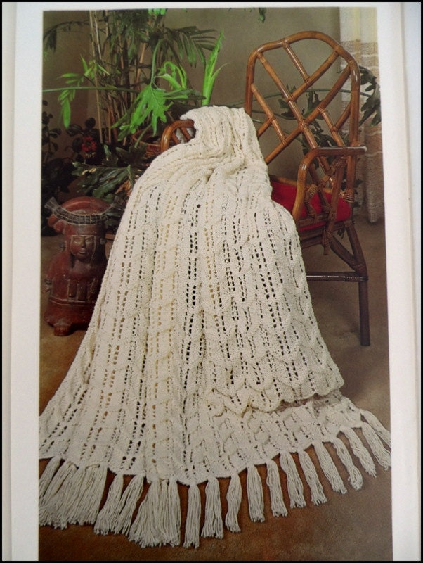 Knit Afghan Pattern Fisherman Ripple Blanket Pattern by pluinct