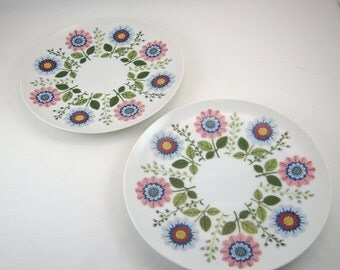 Vintage Fitz and Floyd for Saks Fifth Ave Dessert Salad Plates Floral Set of 2 1970s
