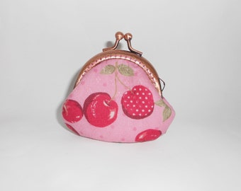 Pink red Cherry clam shape coin  /change pouch/purse/wallet w bubble metal frame