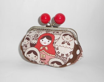 Russian Dolls Matryoshka red chocolate coin/change pouch/purse/wallet w metal frame