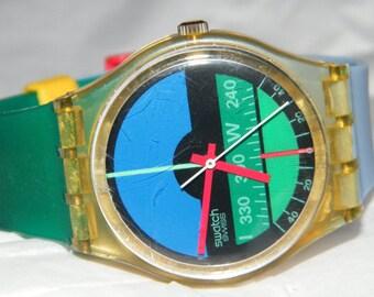 Vintage 1986 Swatch Nautilus Spring Summer Swatch Swiss GK102 Watch