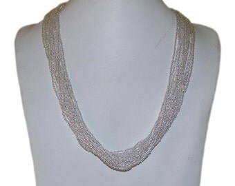 Shiny Silver Multi-Strand Seed Beads Necklace,Nepal