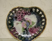 Painted Porcelain Heart Dish, Heart Small Dish, Decorative Heart Porcelain Dish, Ring Dish, Soap Dish, Small Rose Heart Dish, OFG Team
