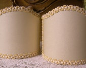 Pair of Wall Sconce Clip-On Shield Shades Cream Parchment with Yellow Trim Mini Lampshade - Made in Italy