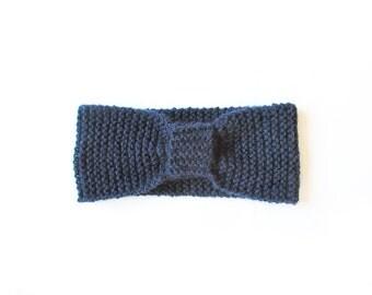 Alpaca Wool Headband, Blue knitted headband, head wrap, ear warmer, hair accessories
