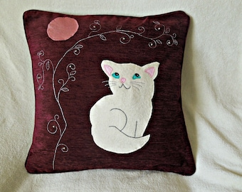 "Cat Cushion, pillow Cover ""Happy White Kitten"" Handmade, appliqued, pet, animal"