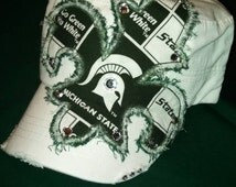Michigan State Fabric Fleur de lis with bling accents