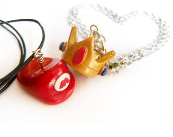 Red Plumber Brother  and Princess inspired -Significant other/couple- necklace or keychain set