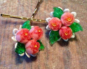 Decorative Hair Pins Bridal Hair Jewelry 1940's Coral Shell Celluloid Flower Hairpins Bobby Pins
