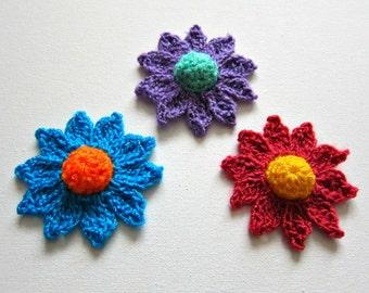 """1pc 2,3/4"""" Crochet Bright DOME DAISY Applique"""