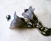 Grey Lucite Flower Earrings. Handmade Dove Gray Floral Victorian Lily Earrings with Shimmering Vitrail Crystals and Stamped Bronze Petals