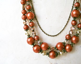 Burnt Orange Necklace. Multistrand Pearl Necklace. Beaded Statement Necklace. Terracotta, Copper + Bronze. Vintage Inspired Chunky Necklace.