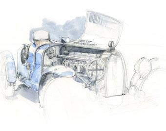 Type 35 Bugatti Watercolour - Limited Edition Print