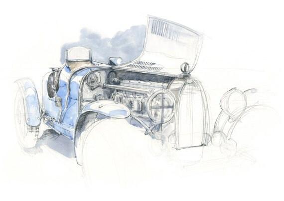 Type 35 Bugatti Watercolour - Limited Edition Print
