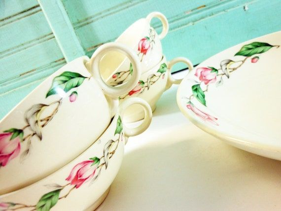 Vintage Universal Ballerina Pink Roses Cups And Serving Bowl