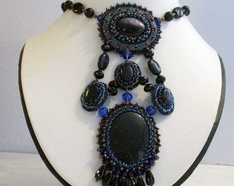 Blue Sand Stone Bead Embroidery Necklace
