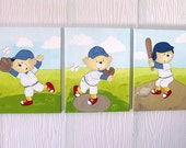3 Teddy bears playing baseball, handpainted on canvas
