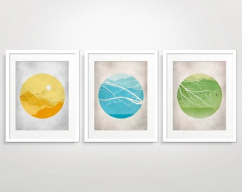Mid Century Modern Wall Art Set, Circle Art, Set of 3 Prints, Midcentury Art, Nature Art Prints, Landscape Art