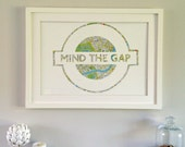 Extra Lg - MIND THE GAP - Hand paper cut  Art made from a Vintage Map of London // Handmade in England // A2 Size