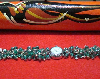 400C,Crystal Beads Silver Bracelet with Quarzt Watch, Beaded Watch Bracelet
