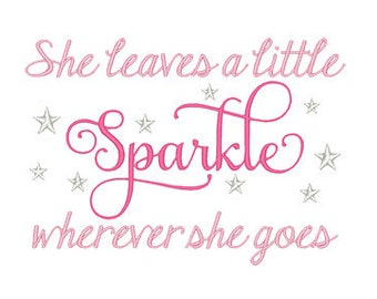 She Leaves Sparkle Embroidery Design - Instant Download