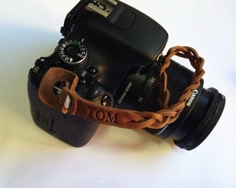 Personalized braided leather camera wrist strap