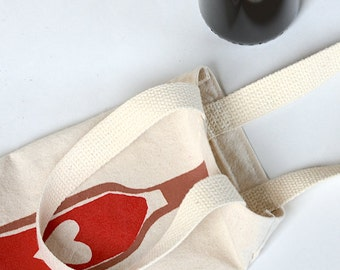 Wine Bag, Screen Printed Canvas Wine Tote, Wine Love, Wine Lover Gift, Mother's Day Gift