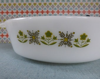 PYREX SALE - Anchor Hocking Fire King Green Meadow casserole dish - vintage Anchor Hocking dish - vintage Green Meadow