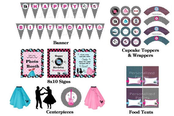 50's Style Sock Hop party kit: banner, centerpieces, cupcake toppers & wrappers, signs