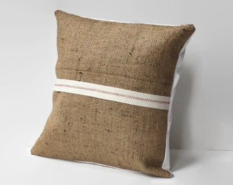 burlap accent pillow cover // rustic home decor // ribbon pillow // burlap decor // red and white pillow// twelve inch pillow //rustic decor