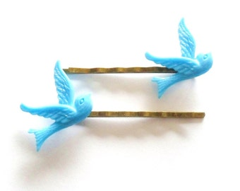 Blue Swallow Bobby Pins, Bird Hair Pins, Rockabilly Hair Accessories