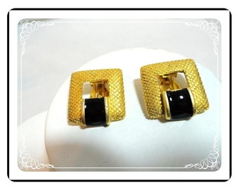 Door Knocker Earrings - Vintage Goldtone-Black Enamel Clips  E279a-070612000