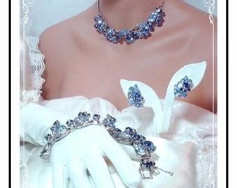 Vintage Juliana Parure -  Delightful Sapphire and Powder Blue  Para-491a-112508110