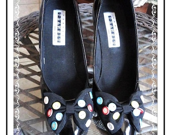 Colored Button Shoes - How Cute Are These - Vintage  Button Shoes - By New York Transit - SH-024a-050914000