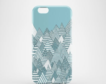 Winter Forest, mountains phone case, iPhone 7, iPhone 7 Plus, iPhone SE, iPhone 6S, iPhone 6, iPhone 5S, iPhone 5, illustration teal case