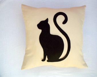 Felt Cat pillow cover - Cream linen pillow with black cat - Meow Cat Lovers - Gift for her for children for mom - Ready Ship - Sitting cat